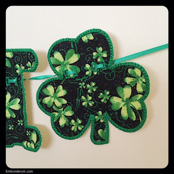 banner shamrocks machine embroidery applique