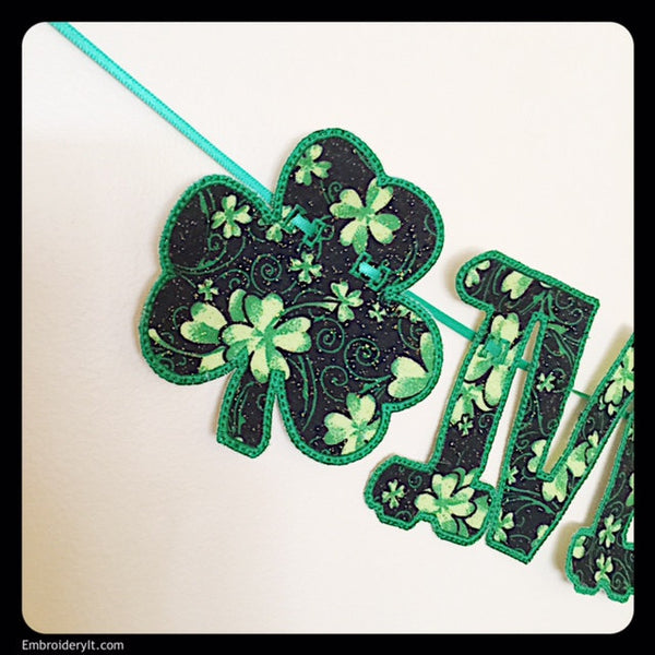 machine embroidery applique banner shamrocks
