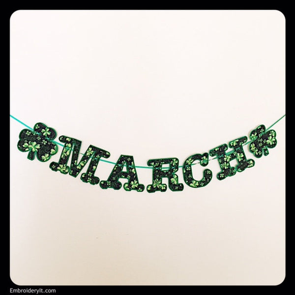 machine embroidery banner shamrocks made in the hoop with applique