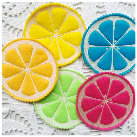 Summer Citrus coasters machine embroidery design