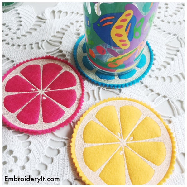 citrus coasters in the hoop machine embroidery design