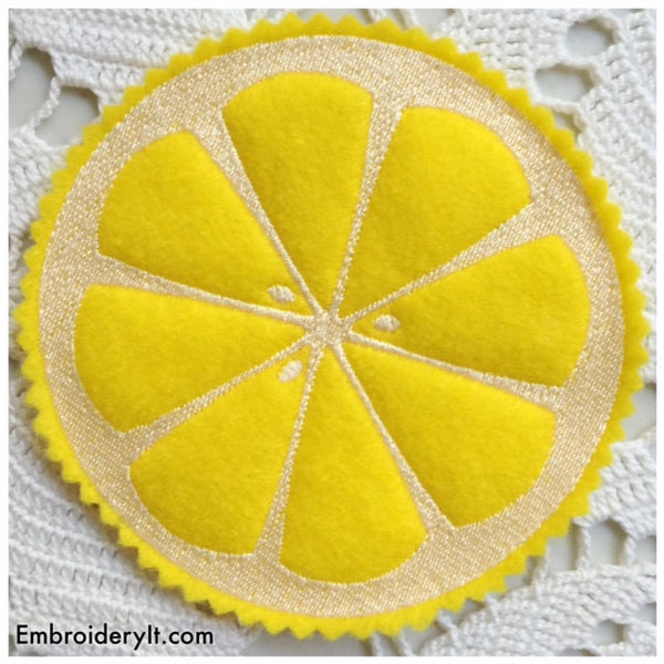 machine embroidery in the hoop summer citrus coasters