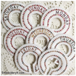 Days of the week machine embroidery closet organizer in the hoop designs