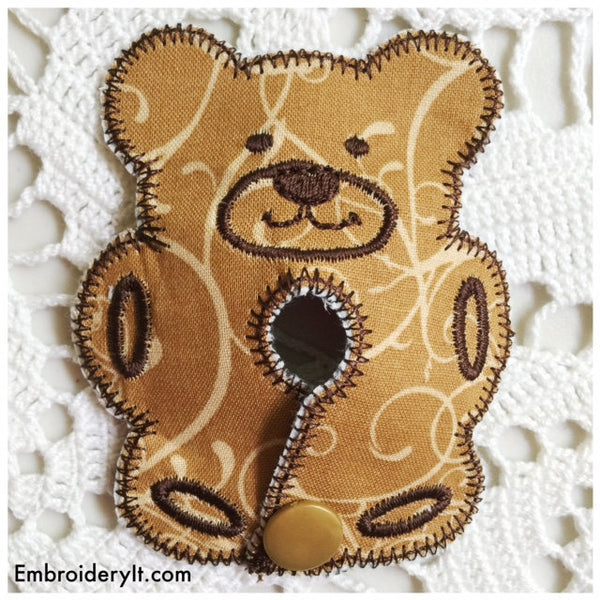 machine embroidery bear in the hoop feeding tube pad