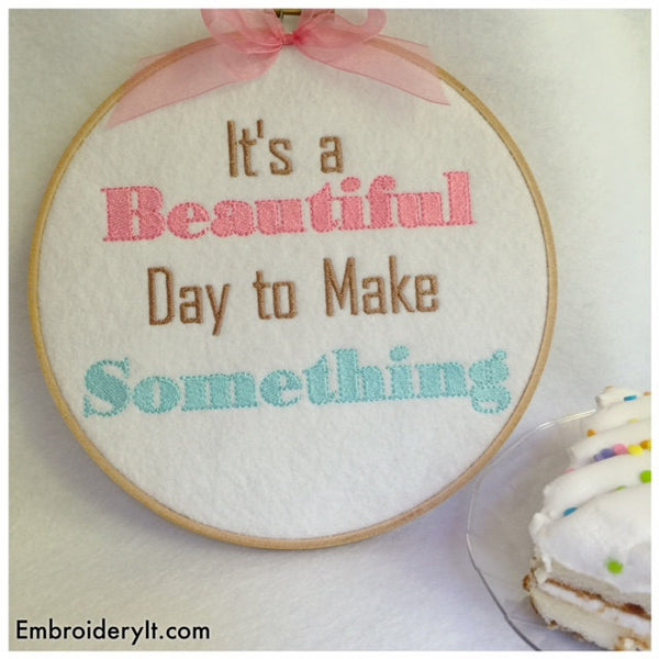 machine embroidery make something word art