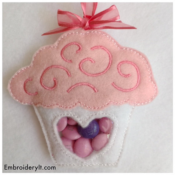 cupcake candy holder made on the embroidery machine