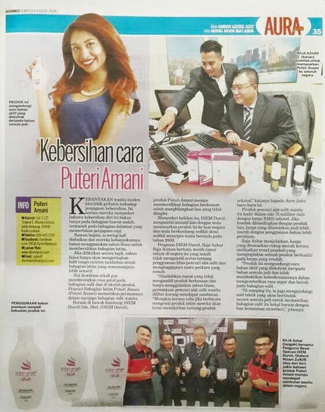 Puteri Amani Feminine Wash 75ml featured in KOSMO Newspaper - 6 August 2016