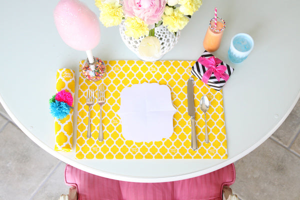 Yellow Quatrefoil Placemat - Set of 4