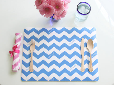 Vinyl Blue Chevron Placemat - Set of 4
