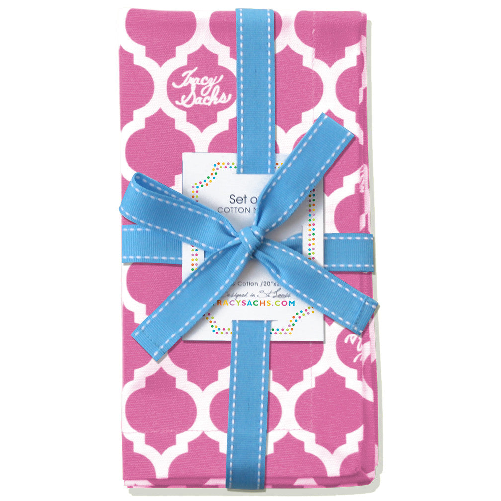 Pink Quatrefoil Napkin - Set of 4
