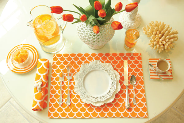 Orange Wave Napkin - Set of 4