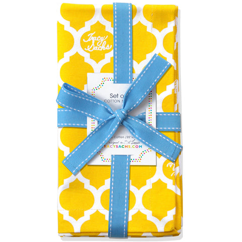 Yellow Quatrefoil Napkin - Set of 4