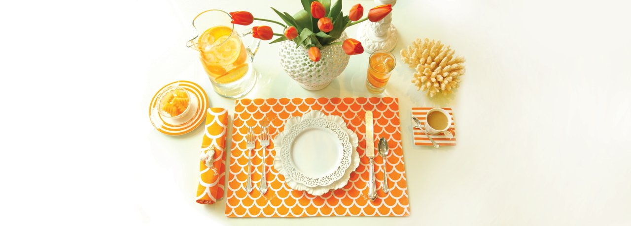 orange wave cloth placemats napkins thanksgiving