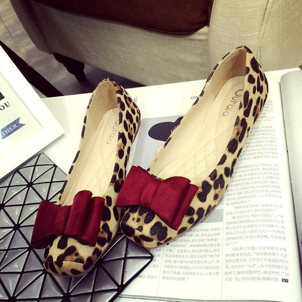 Leopard Flat Square Head Shoes