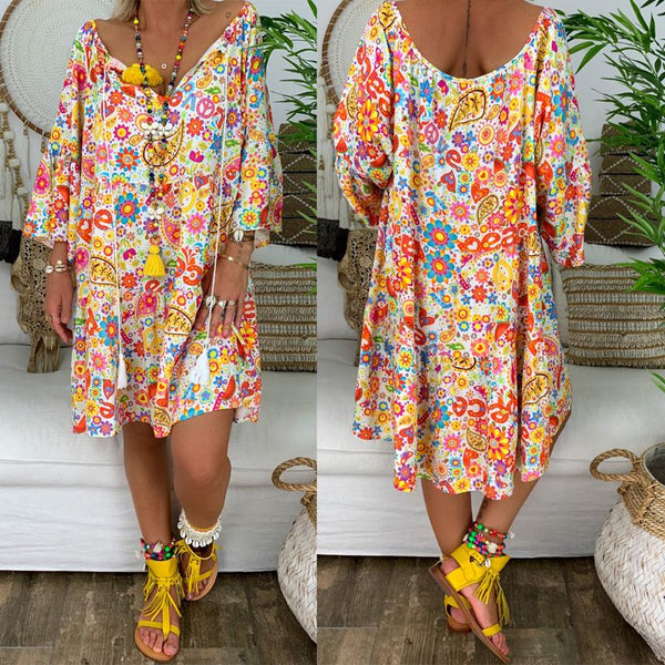 Bohemian Printed V Neck Loose Dress -  - Dnerds.com