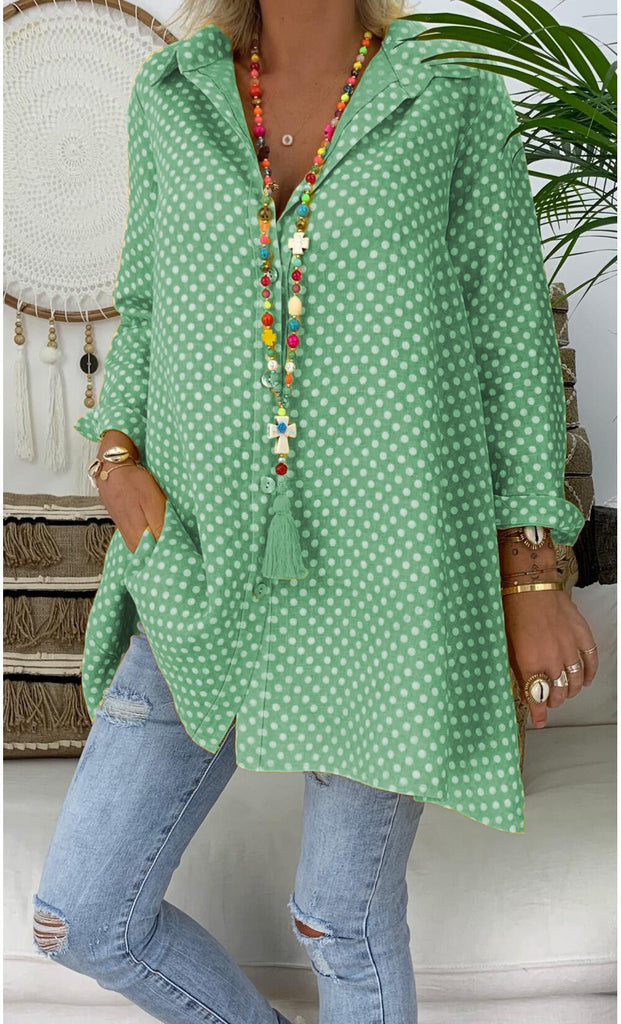 Spring/Summer Polka Dot Cotton Printed Plus Size Shirt -  - Dnerds.com