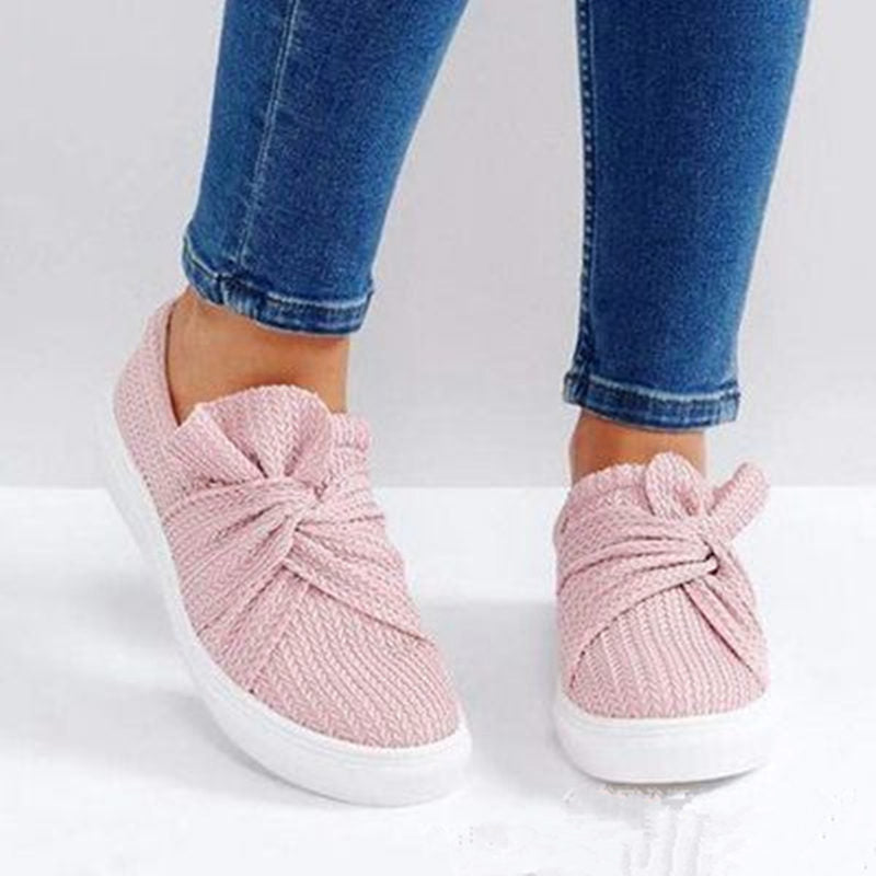 Casual Solid Color Bow Flat Loafers -  - Dnerds.com