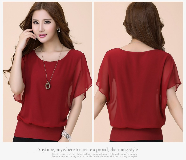 Chiffon Ruffle Batwing Sleeve Blouse - fashion - Dnerds.com
