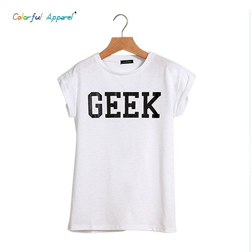 Colorful Geek Loose Letter T-shirt