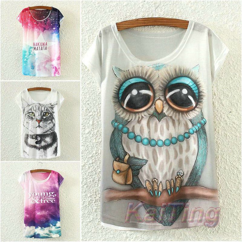 Big Owl Print T-shirt White Clothes -  - Dnerds.com