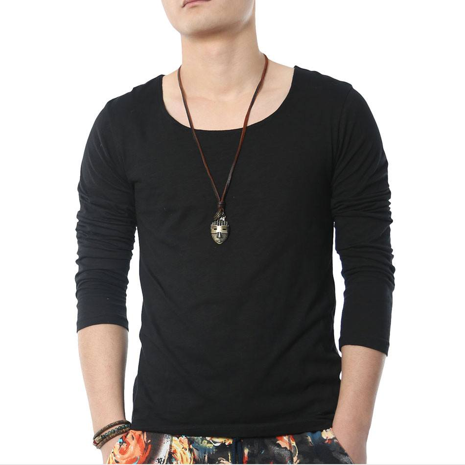 Solid Long Sleeve T Shirts Men Square Collar -  - Dnerds.com