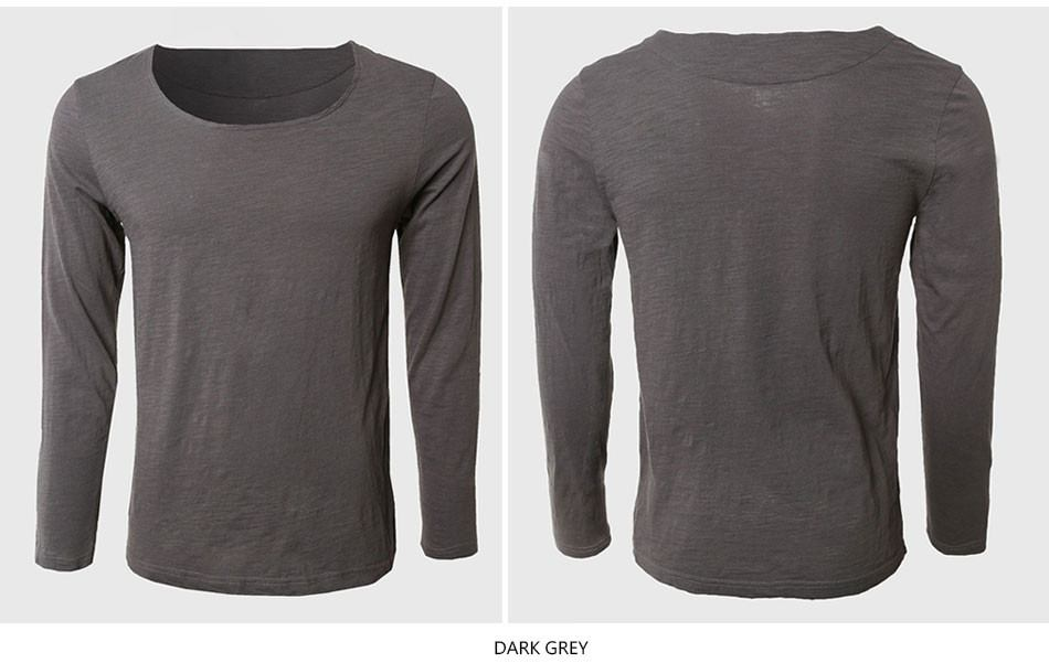 Solid Long Sleeve T Shirts Men Square Collar