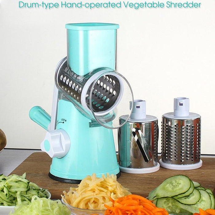 Manual Hand Speedy Mandoline Slicer With 3 Round Stainless Steel Blades -  - Dnerds.com
