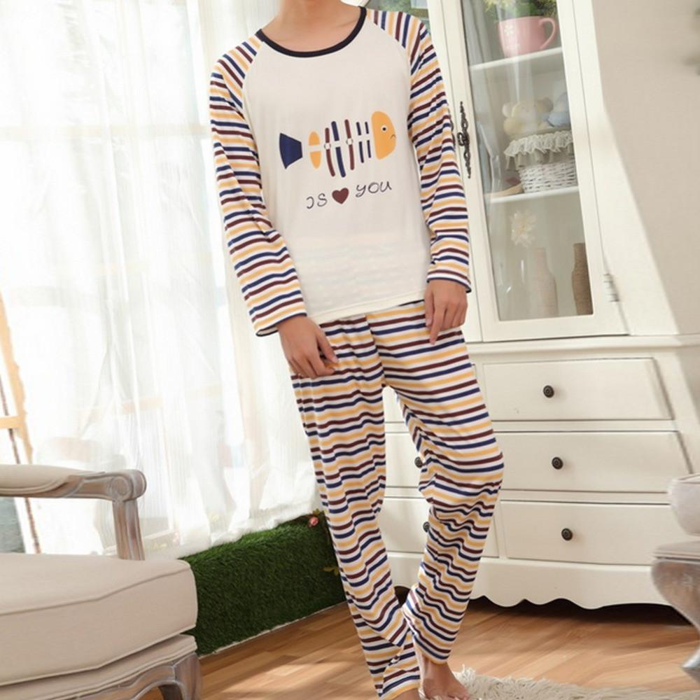 couples pajamas set male and female milk silk long sleeved