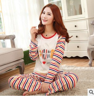 couples pajamas set male and female milk silk long sleeved -  - Dnerds.com