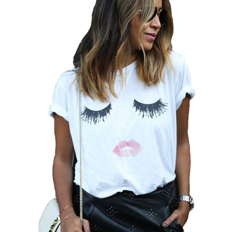 Casual Sweet Eyelash and Lips Print T-shirts -  - Dnerds.com