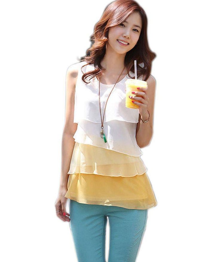 Flounce Tiered Blouse - fashion - Dnerds.com