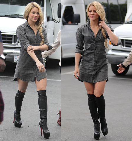 Shakira rocks the Extra interview in Red Bottom High Heel Boots