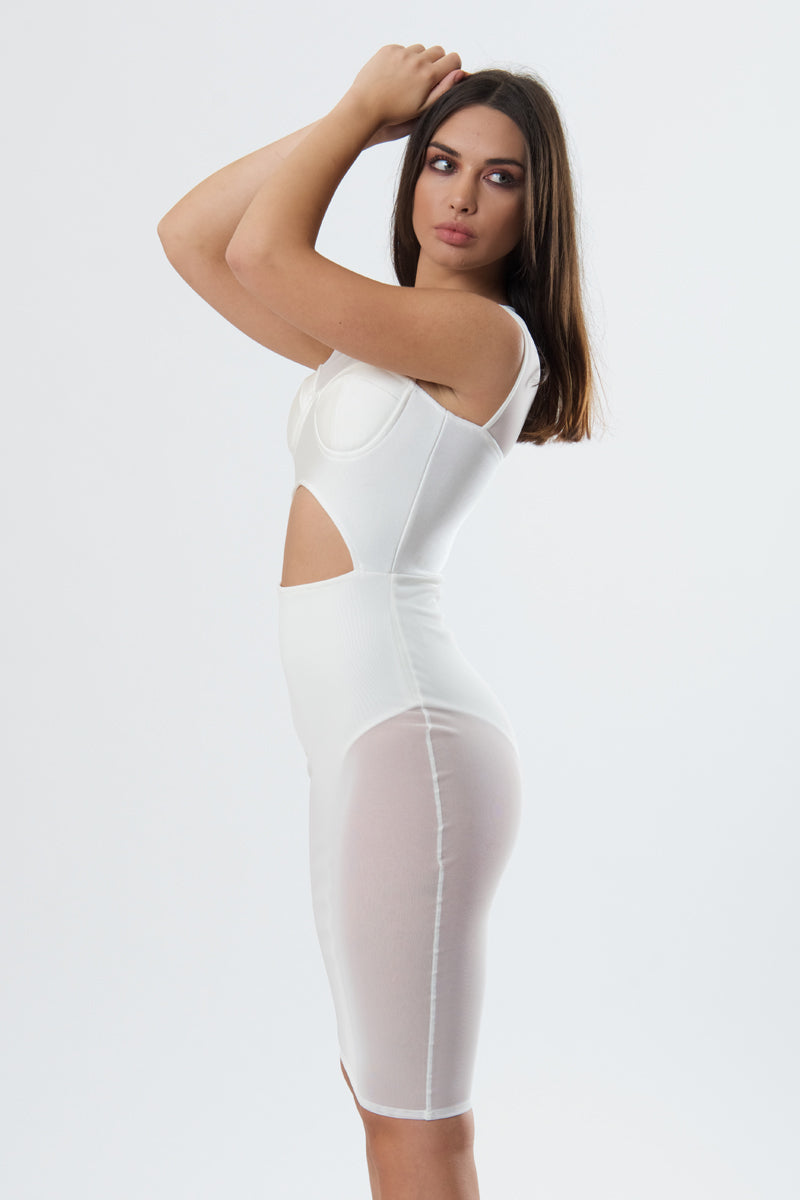 Bandage Dress With Mesh Detail-Dress-Secret Closet