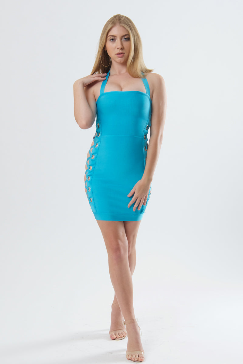 Sleek and Chic Bandage Dress With Criss Cross Detail-Dresses-Secret Closet
