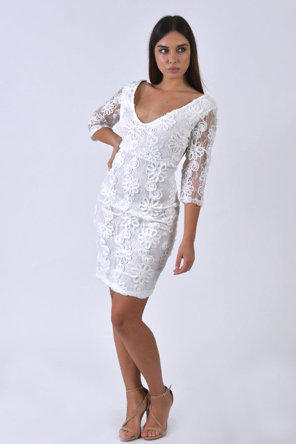 Quarter Sleeves Lace Midi Dress-Dresses-Secret Closet