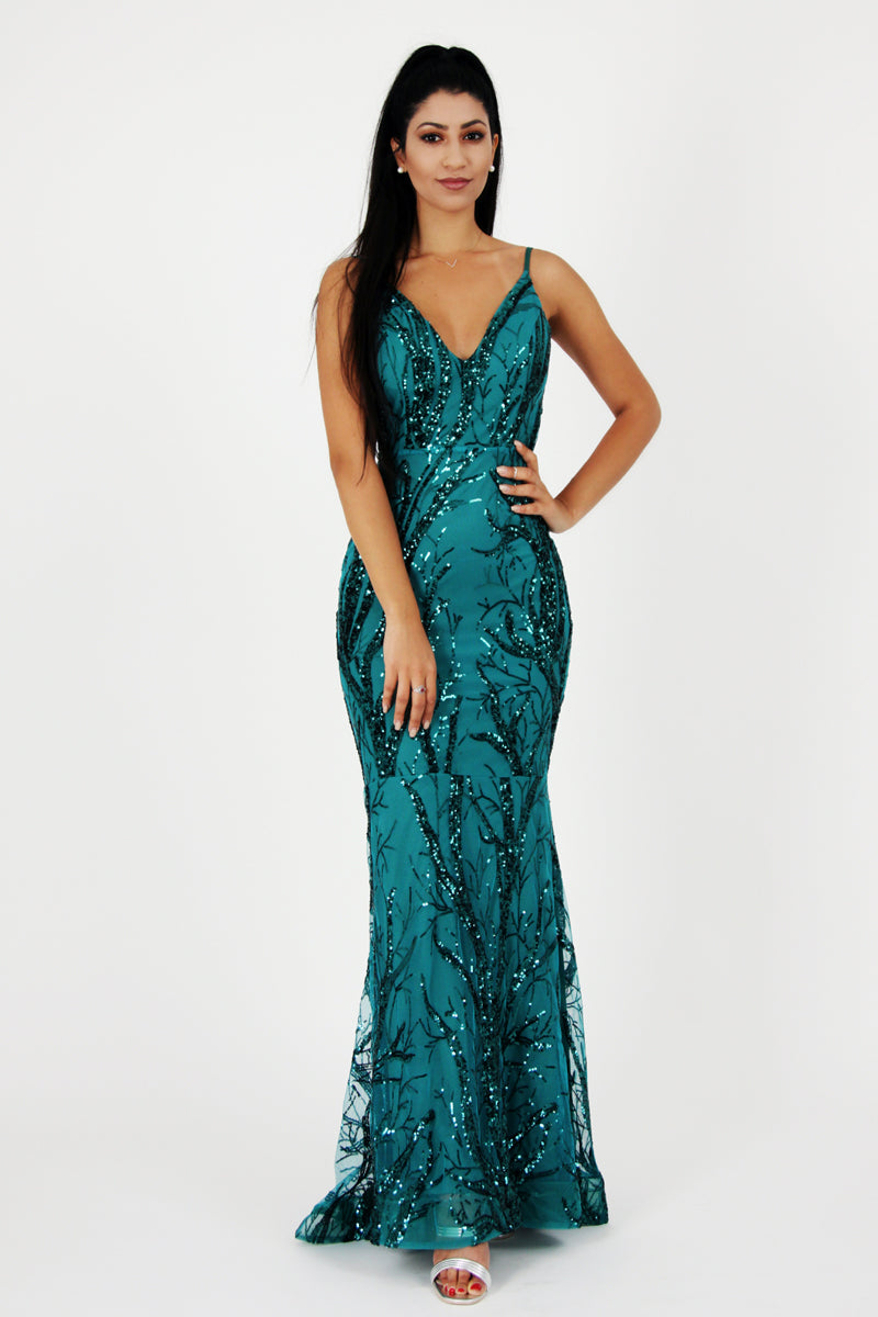 Emerald Maxi Dress-Dresses-Secret Closet