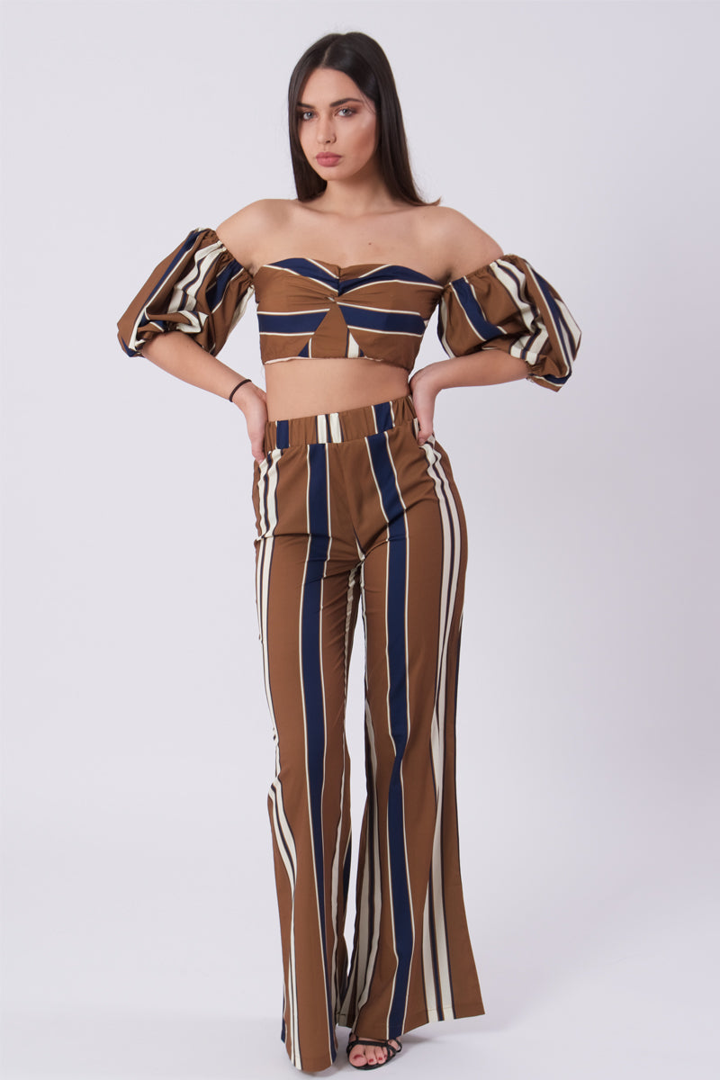 Cold Shoulder Crop Top & Trouser Set-Two Piece Set-Secret Closet