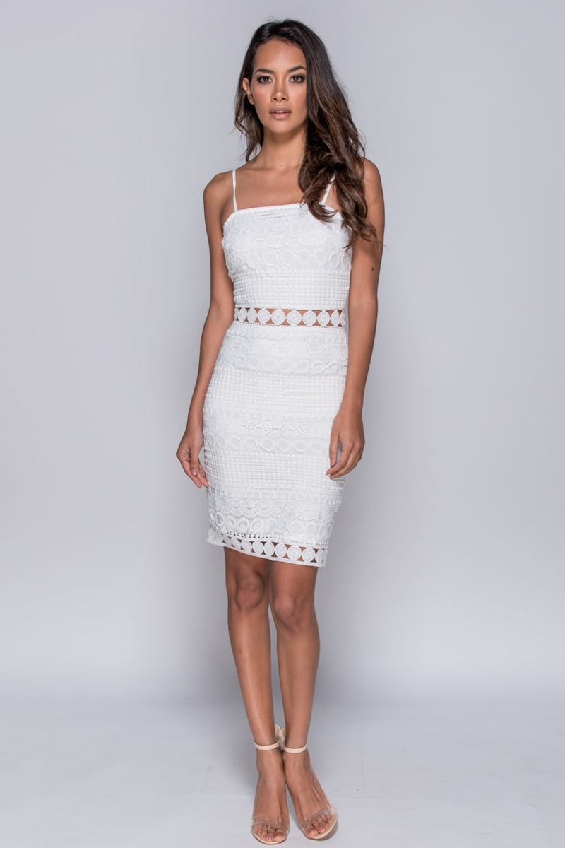 Lace Sheer Panel Cami Bodycon Dress-Dresses-Secret Closet
