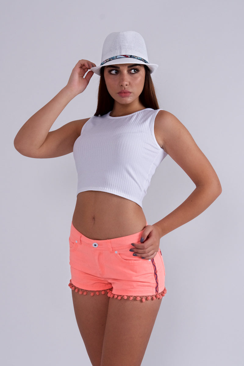 Coral Mini Shorts-Pants-Secret Closet