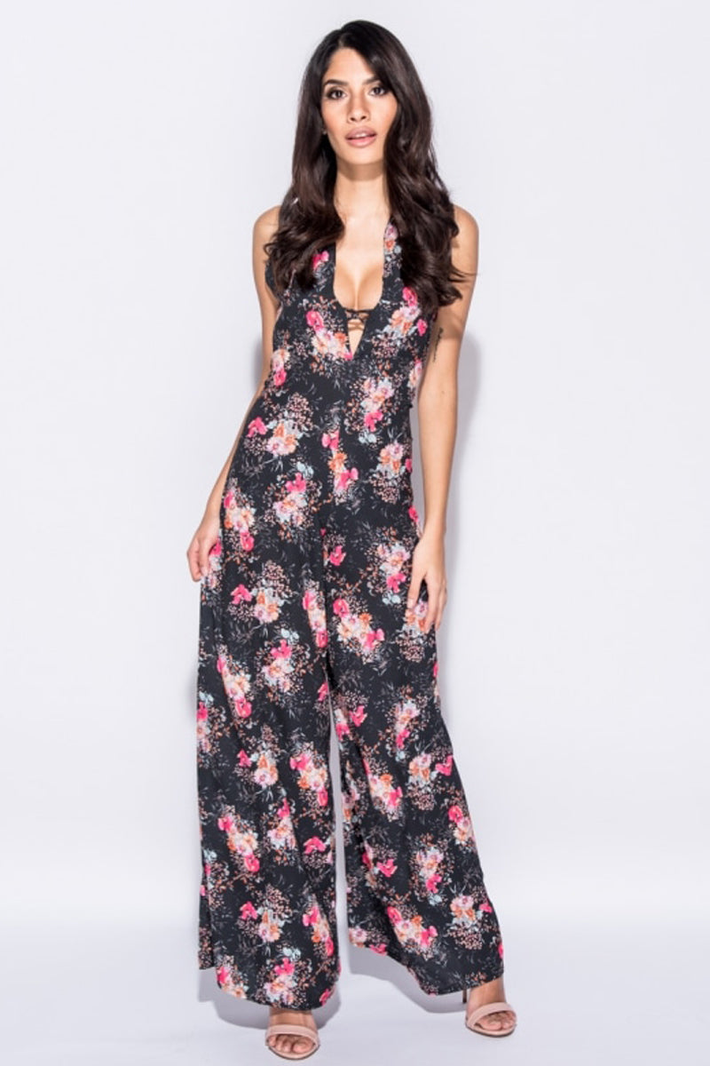 Floral Print Wide Leg Halterneck Jumpsuit-Jumpsuits-Secret Closet