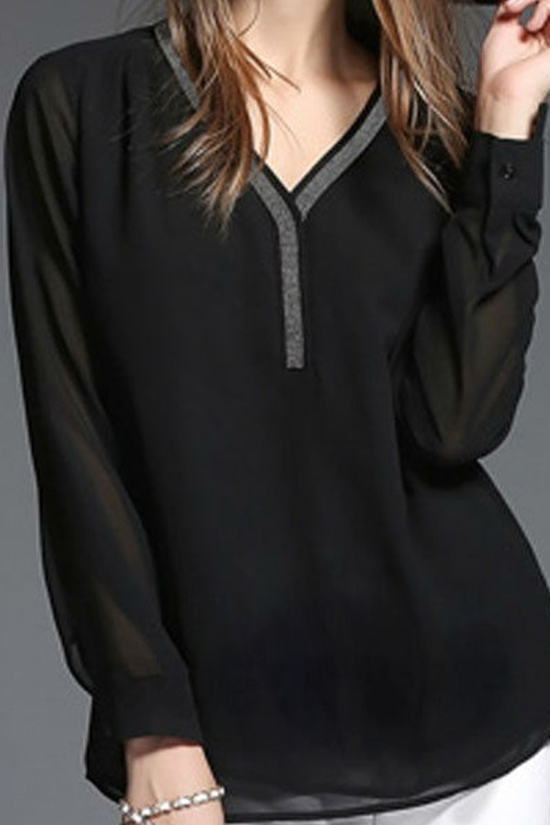 Black Long Sleeve Chiffon Shirt-Blouse-Secret Closet