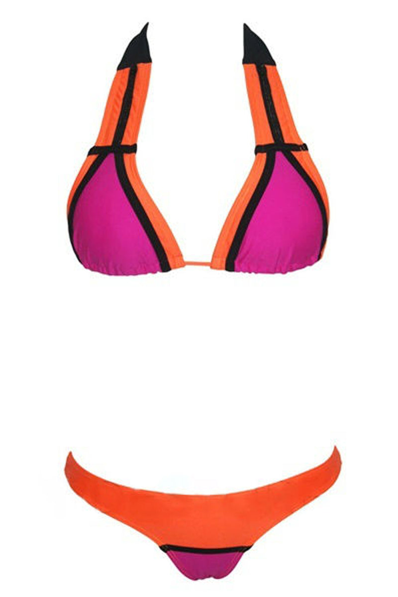 Two-Piece Bikini Beach Splice Split Swimsuit-Bikini-Secret Closet