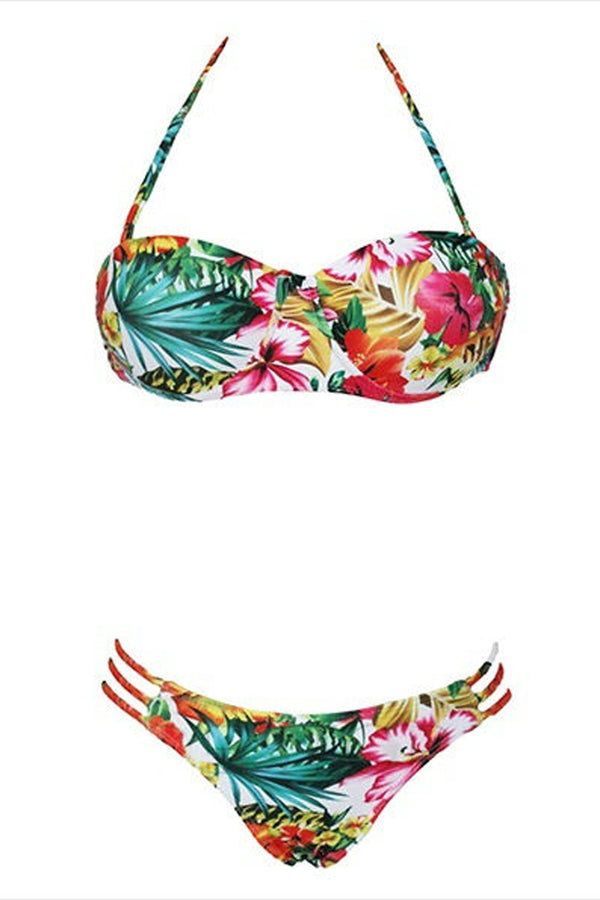 Flower Print Spaghetti Strap Halter Lace-Up Bikini-Bikini-Secret Closet