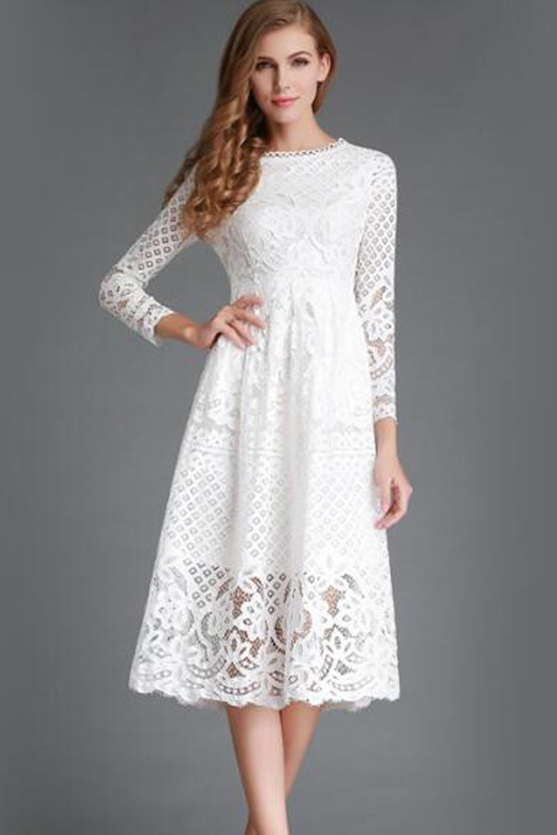 Long Sleeves Lace Party Dress-Dresses-Secret Closet