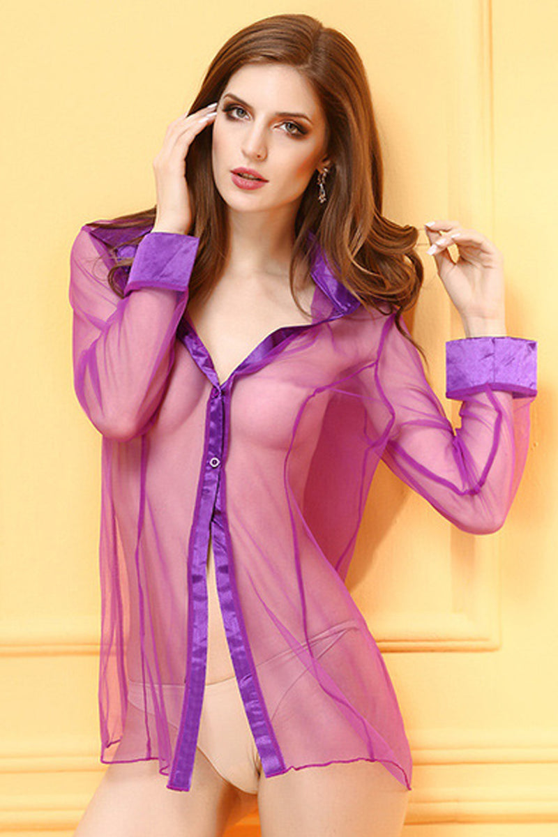 Long Sleeve Sexy Gauze Shirt-Shirts-Secret Closet