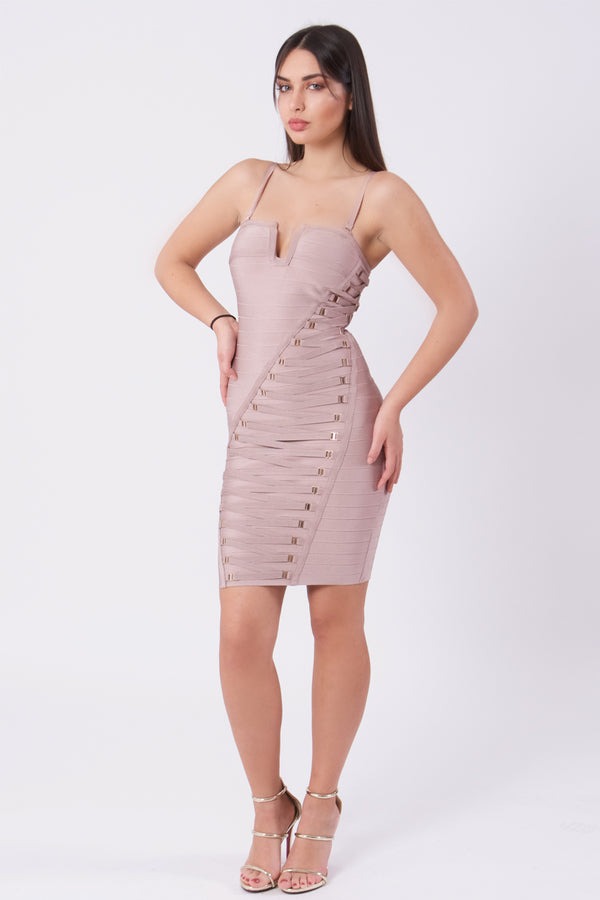 Bandage Dress With Lace Up Detail-Dress-Secret Closet