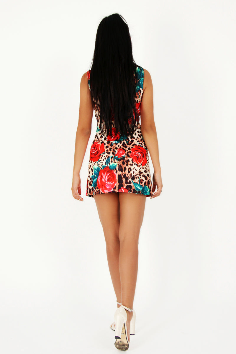 Leopard And Rose Print Mini Dress-Dresses-Secret Closet