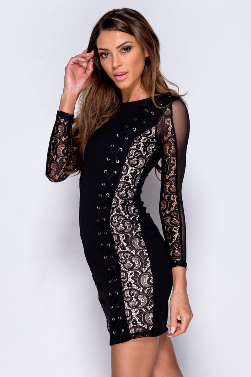 Lace Up Detail Panelled Bodycon Mini Dress-Dresses-Secret Closet