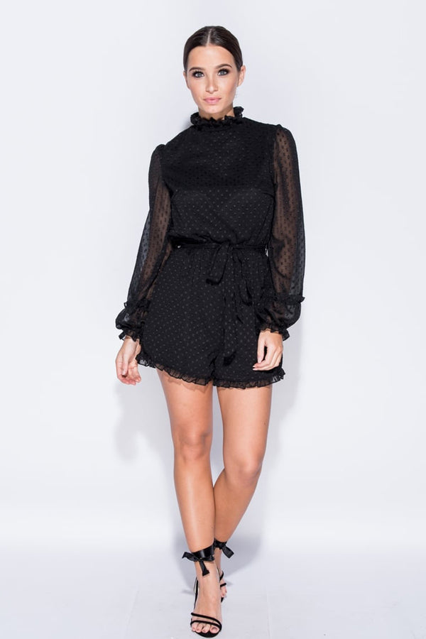 Spotted Frill Hem High Neck Playsuit-Jumpsuits-Secret Closet
