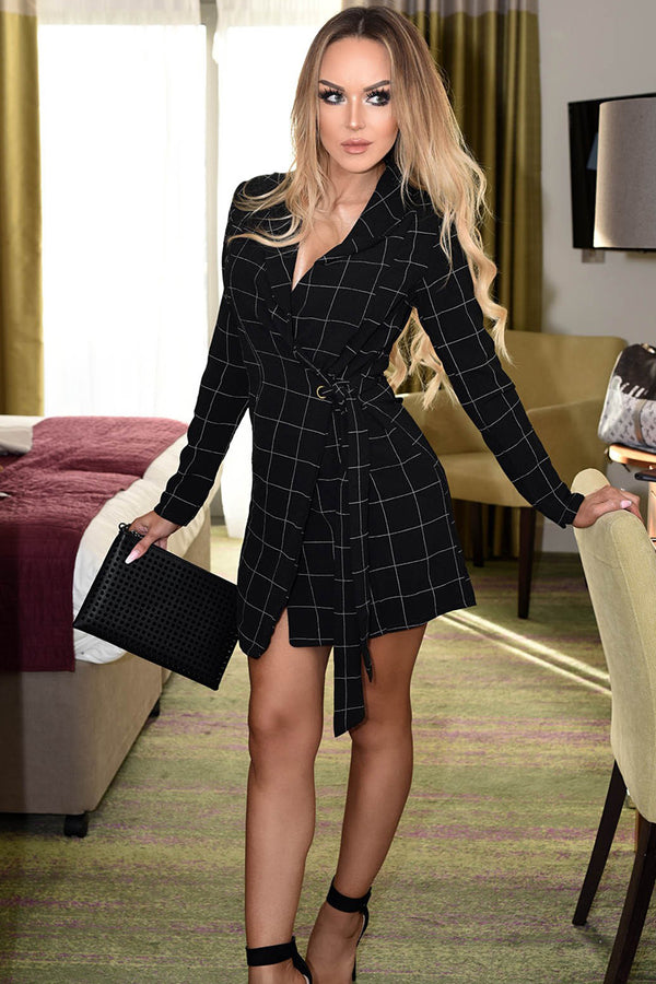 Grid Checked Wrap Dress Blazer Type-Dresses-Secret Closet